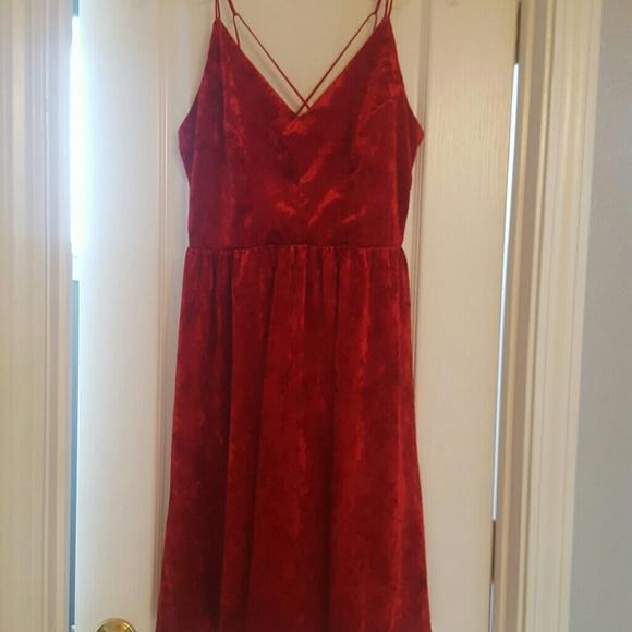 63ed1148718 Red Crushed Velvet Spaghetti Strap Dress Large
